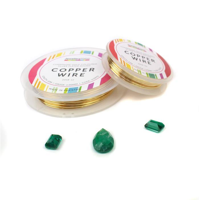 Emerald Envy INC 7cts Emerald Quartz x2, 19cts Emerald Pear, 0.6mm & 1mm Gold Coloured Wir