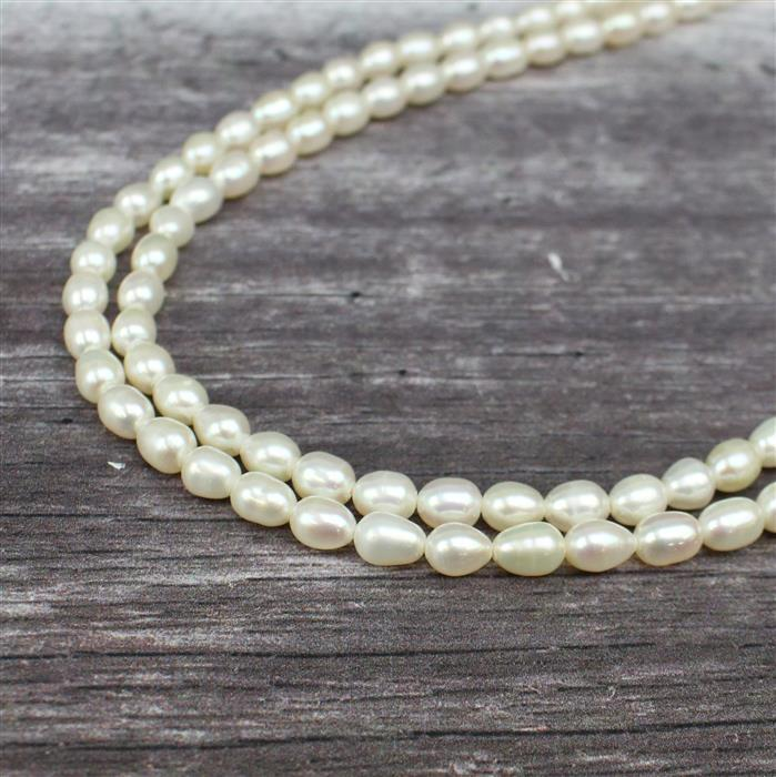 White Freshwater Cultured Rice Pearls Approx 5x7to 6x9mm, 1m strand