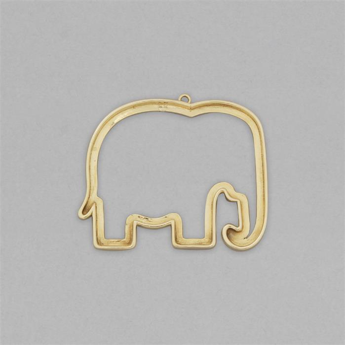 High Polished Brass Elephant Outline Shaped Blank Pendant Approx 49x40mm.