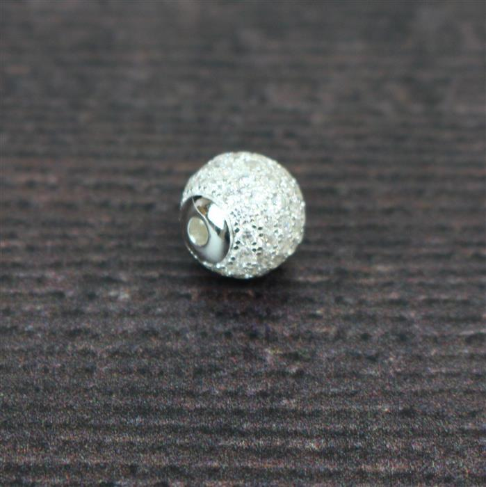 925 Sterling Silver CZ Detail Charm with Eyelet, Approx. 10mm with 1.8mm Hole