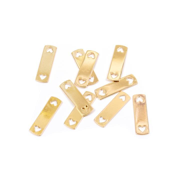 Golden Brass Rectangle Blank With Heart Holes Approx 35x10mm 10pk