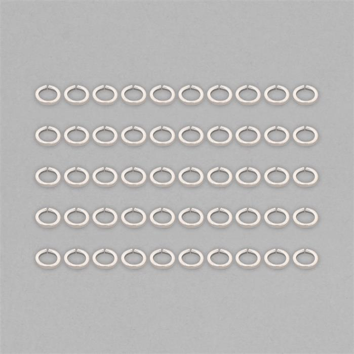 925 Sterling Silver Flat Oval Jump Ring Approx 4x3mm (50pcs)