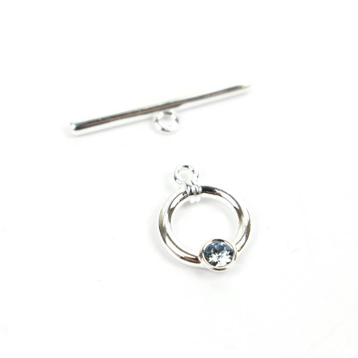 925 Sterling Swarovski Aquamarine Colour Toggle Clasp Approx 23mm Bar 11mm Ring