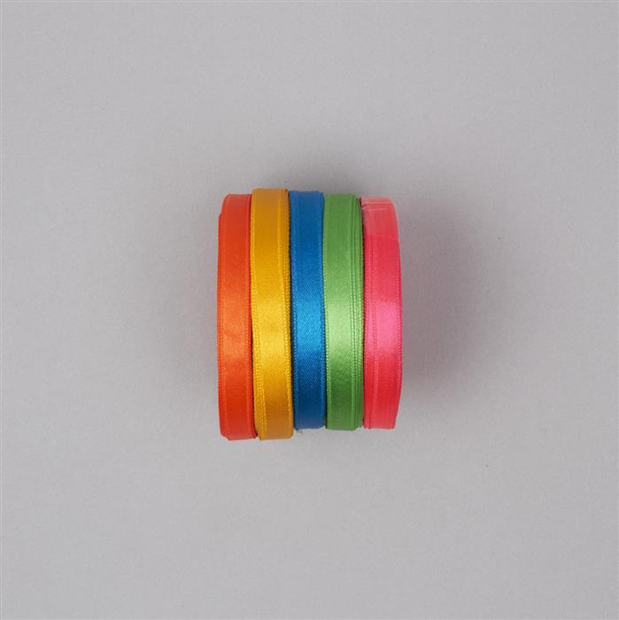 Satin Ribbons In Blue, Green, Pink, Yellow & Orange. Colours Approx 7.5mm Wide, Length Approx 10m Each. (5pcs)