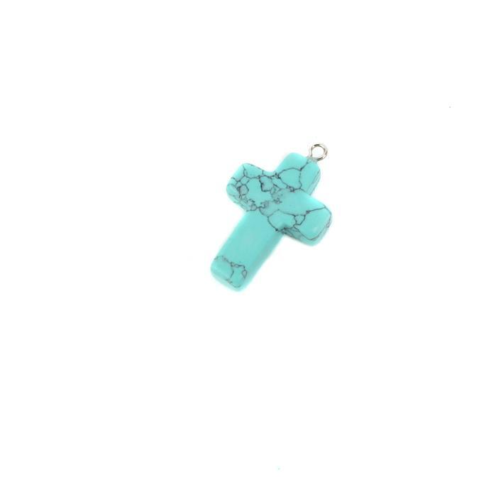 10cts Turquoise Cross Pendant Approx Approx 28x18mm