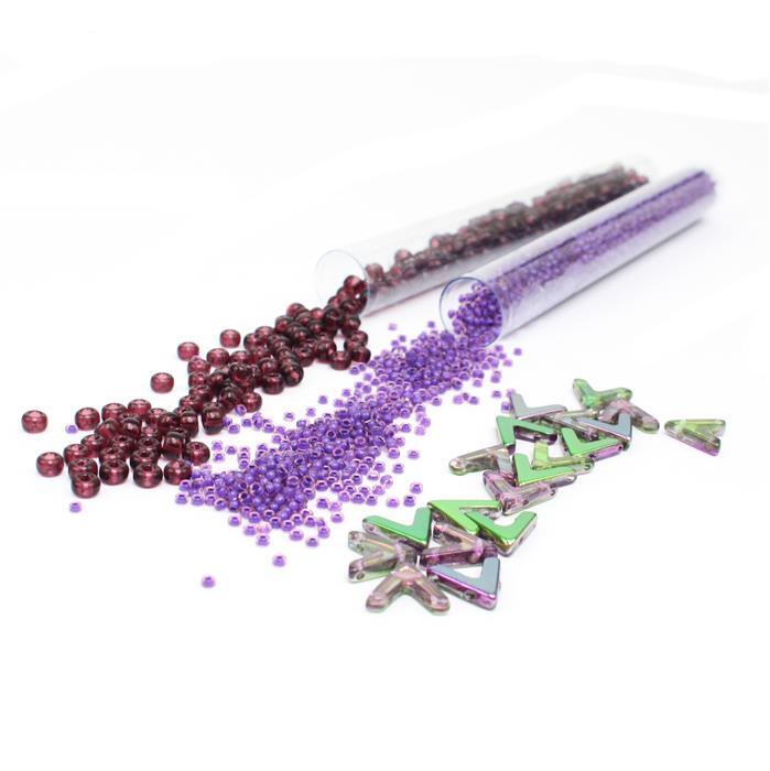 Orchid:Ava Beads Crystal Magic Orchid, Amethyst 6/0 & Violet Lined Amethyst 11/0 seedbeads
