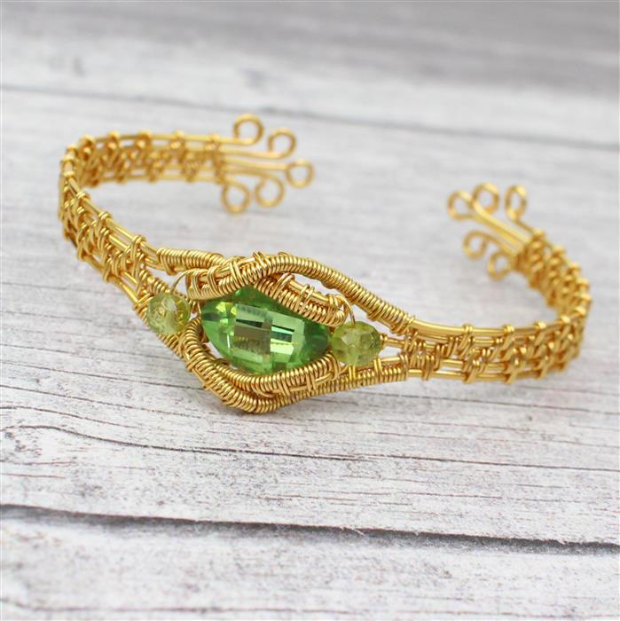 Gem of the Sun: INC Swarovski Peridot Fancy Stone & Bicones & Rondelles, Findings & Wire