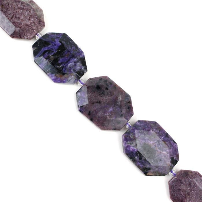 750cts Charoite Faceted Slabs Approx 23x34mm-28x38mm, Approx 38cm strand