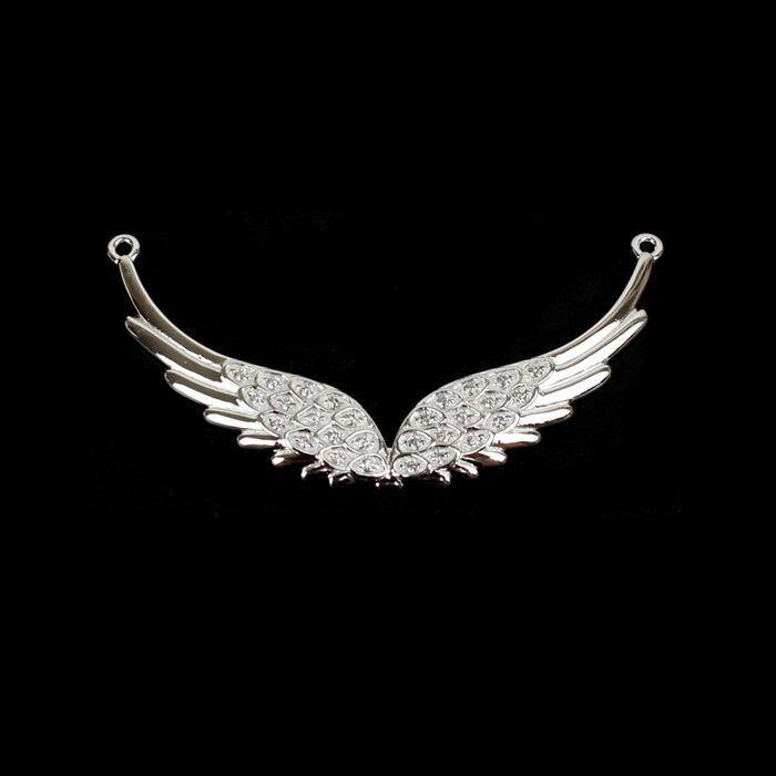 925 Sterling Silver Wings Connecter with CZ Detail, Approx. 41x7mm