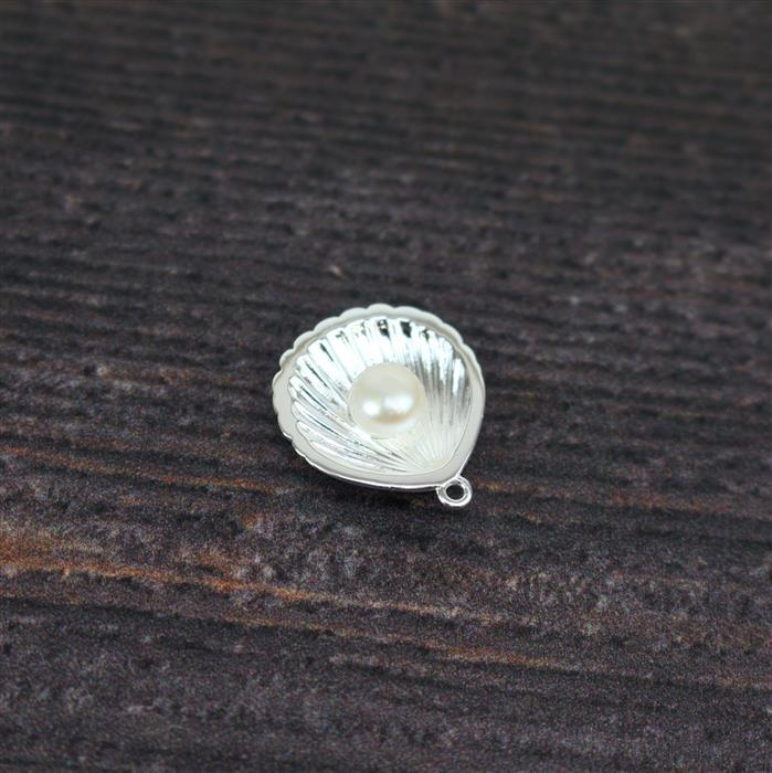 925 Sterling Silver 3D Seashell Pendant,Approx. 20x17mm,1PCS