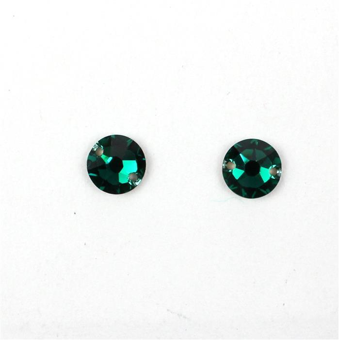 Swarovski Round Sew on 3288, Emerald, 8mm, 2pk