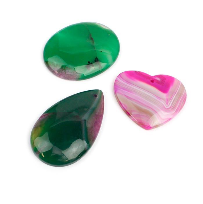 Triple Trouble 3x Dyed Green & Fuchsia Agate Oval,Pear & Heart