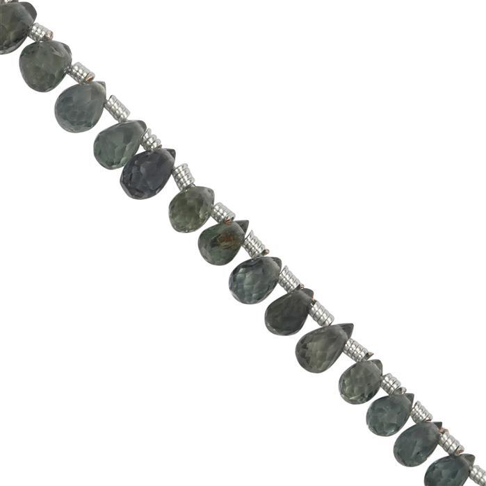 15cts Teal Green Sapphire Graduated Faceted Drops Approx 3x2 to 4.5x3mm, 20cm Strand with Spacers