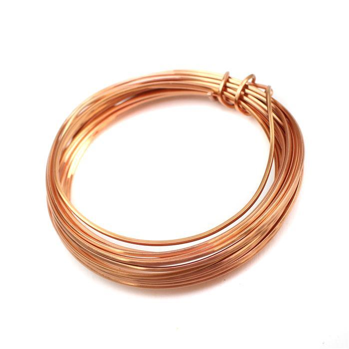 Rose Gold Coloured Copper Square Wire - 1mm (3m)