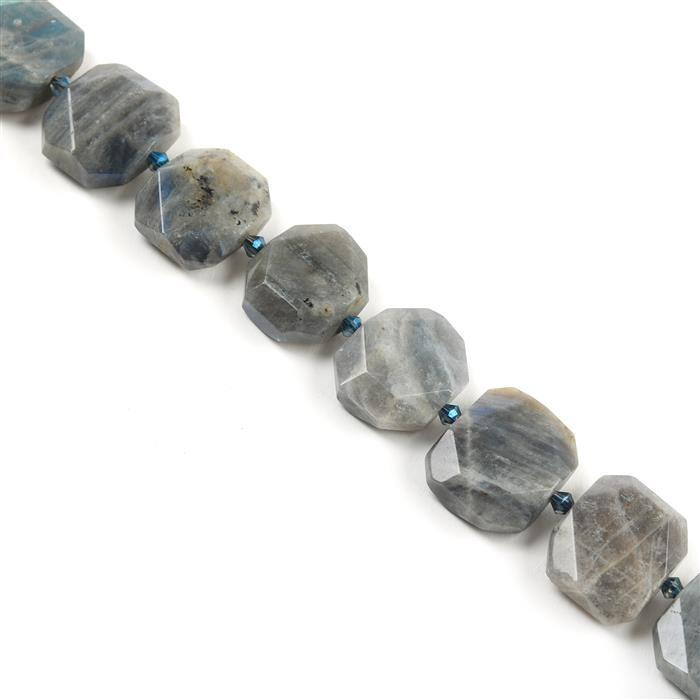 620cts Labradorite Faceted Slabs Approx from 18x21 to 21x24mm, 38cm strand
