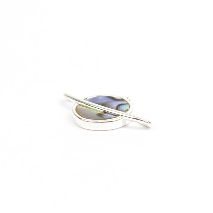925 Sterling Silver Abalone Planet Pendant Approx. 20 x 12mm