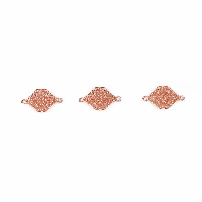Rose Gold Plated Fancy Connectors - 18x10mm (3pcs/pk)