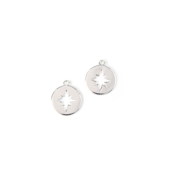 925 Sterling Silver Round North Star Cut Out Charms Approx 10x11.5mm 2pcs