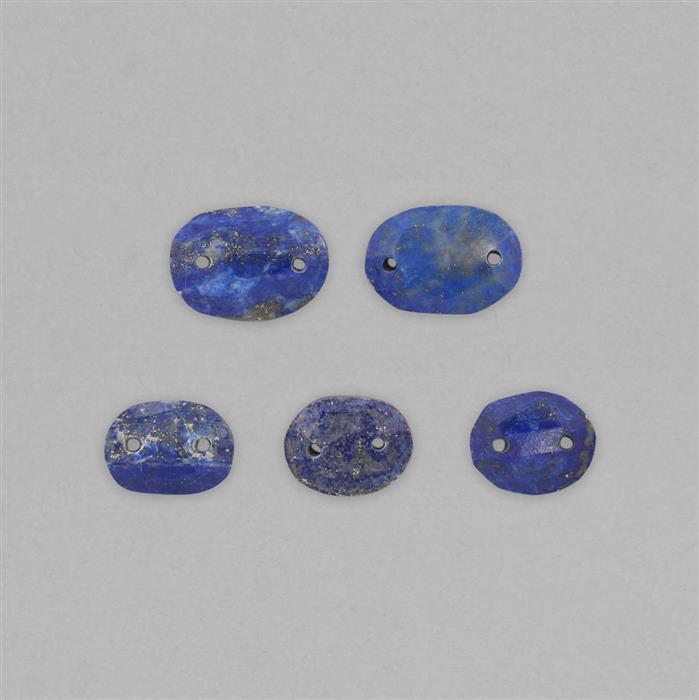 65cts Lapis Lazuli Double Side Drilled Faceted Oval Approx 16x12 to 21x14mm (5pcs).