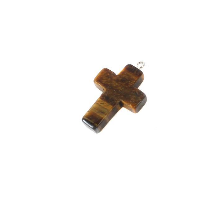10cts Tigers Eye Cross Pendant Approx 28x18mm
