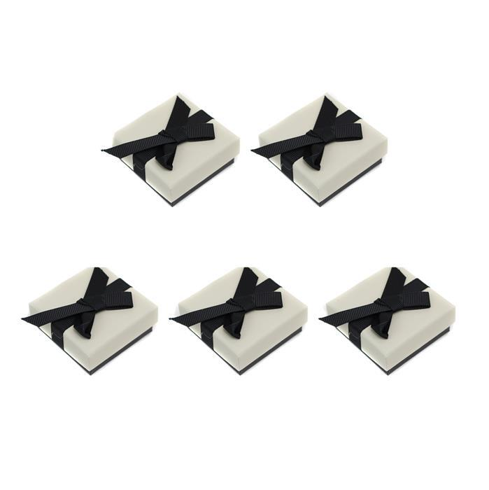 Cream Earring Box with Black Grosgrain Bow Approx 45 x 50 x 20mm, 5pk