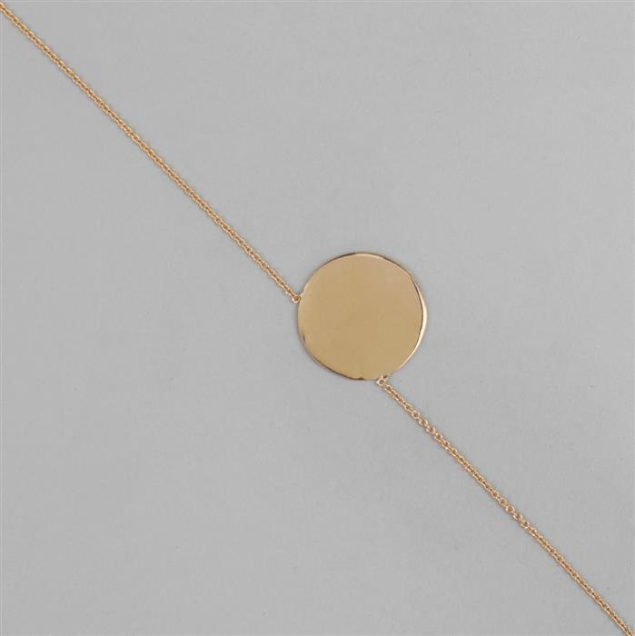 Gold Plated Sterling Silver Rolo Chain with Polished Disc Pendant, 16