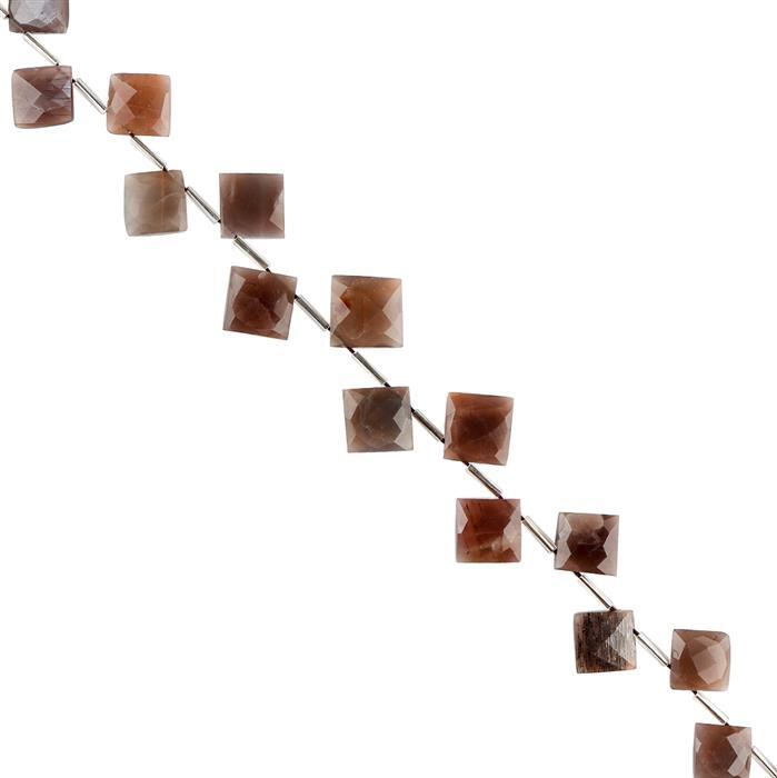 120cts Chocolate Moonstone Graduated Faceted Corner Drilled Square Approx 14 to 19mm, 22cm Strand.