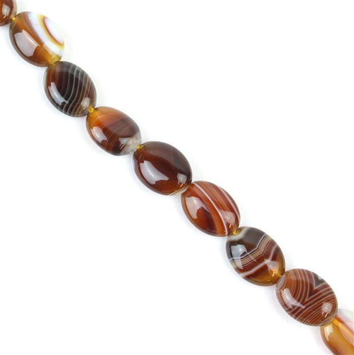 130cts Coffee Stripe Agate Puffy Ovals Approx 10x14mm, 38cm/strand