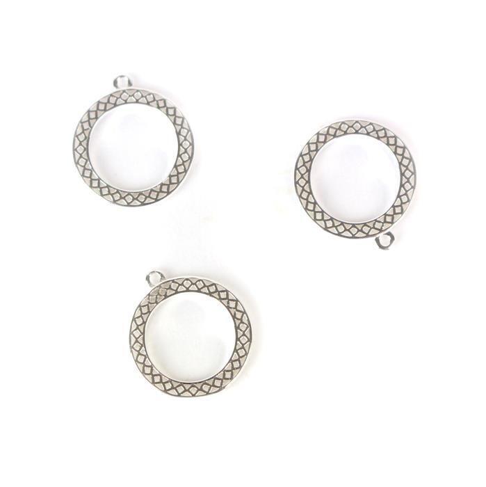 925 Sterling Silver Cutout Charms Approx 15mm, 3pcs