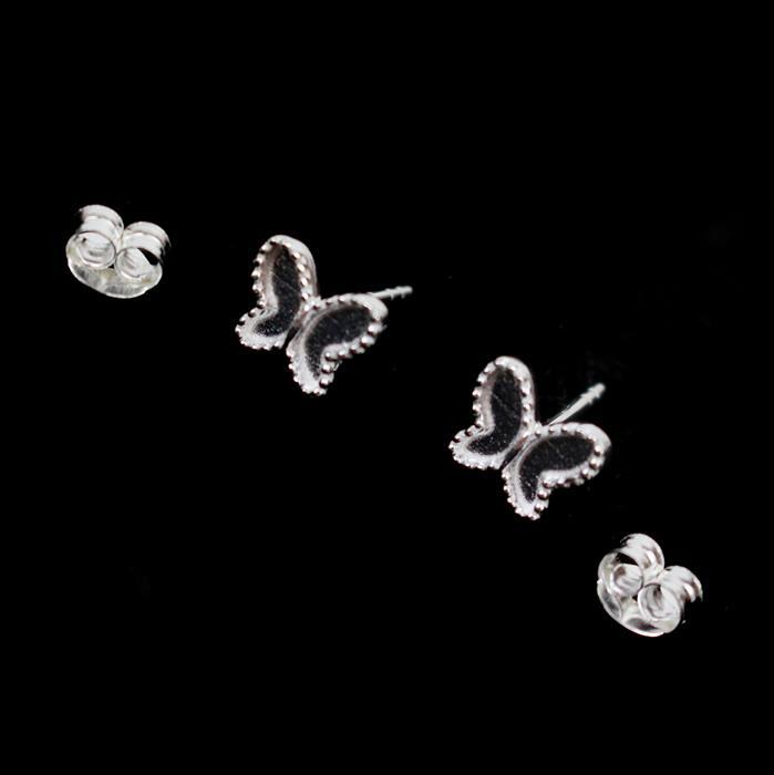 925 Sterling Silver Butterfly Earring Bezels With Butterfly Approx 8mm, 1pair