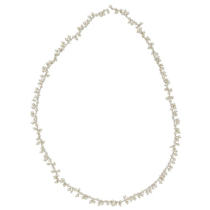 925 Sterling Silver Gemstone Cluster Chain Inc. Pearl Irregular Plain Rondelles Approx 3x2mm, Length 50cm.