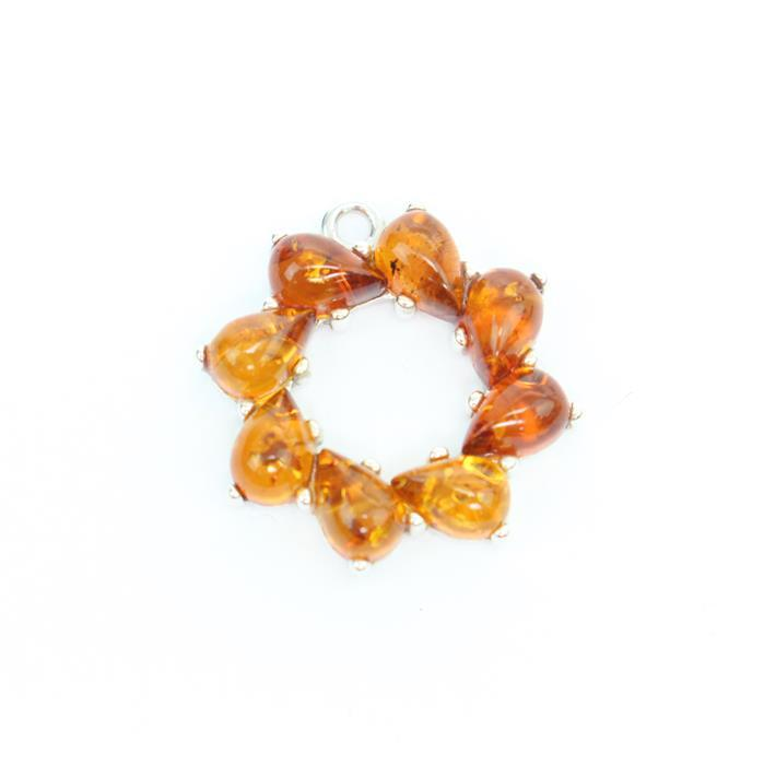 Baltic Cognac Amber Circle Wreath Charm Approx 20mm Sterling Silver