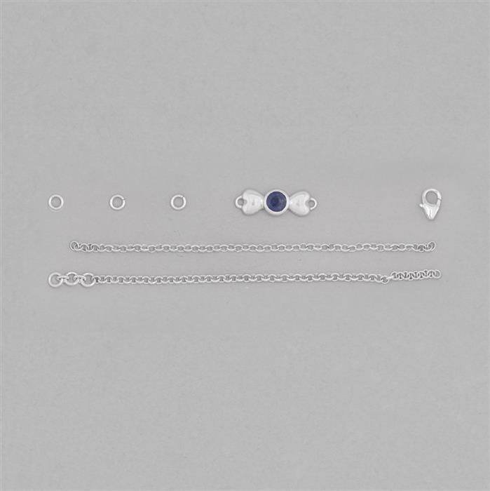 Birthstone Kit: 925 Sterling Silver Bracelet Kit Inc. 0.60cts Blue Sapphire Round Approx 5mm