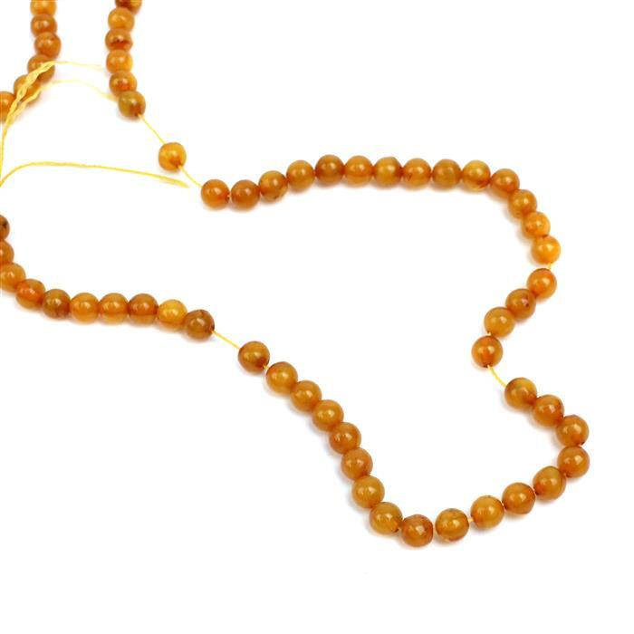 Baltic Butterscotch Amber 5mm Rounds, 38cm Strand