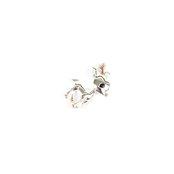 925 Sterling Silver 3D Baby Deer Charm with Rose Gold Plated Detail, Approx 20x14mm, 1pc