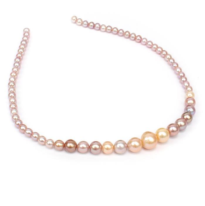 Multi Colour Graduated Pearls Approx 5-14mm , 38cm Strand