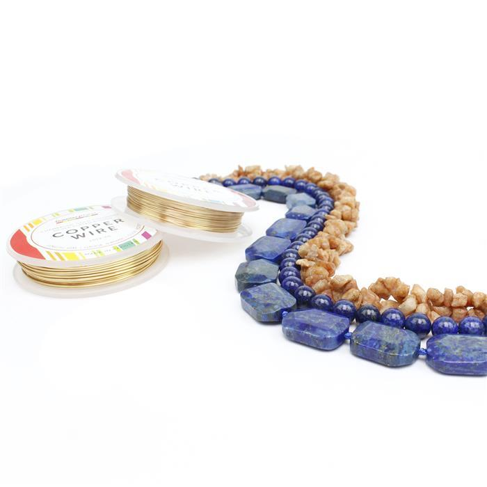 Blue Horizon; 400cts Lapis Lazuli Faceted Slabs & rounds 8mm, Sunstone Nuggets & Wire