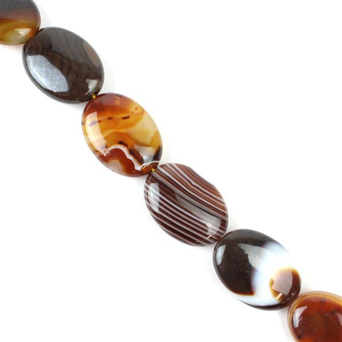 400cts Coffee Stripe Puffy Agate Oval Approx 18x25 mm, 38cm/strand