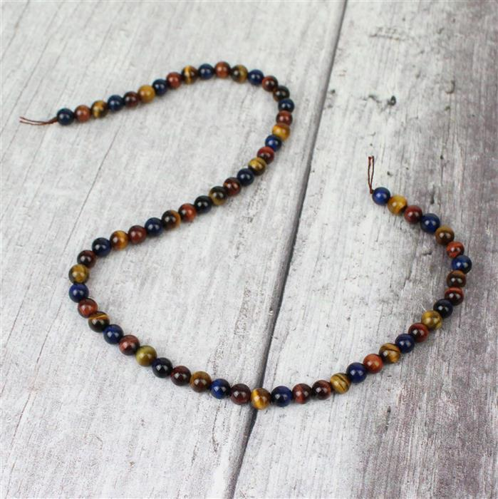 100cts Multi-Colour Tigers Eye Plain Rounds 3 colours Approx 6mm, 38cm strand