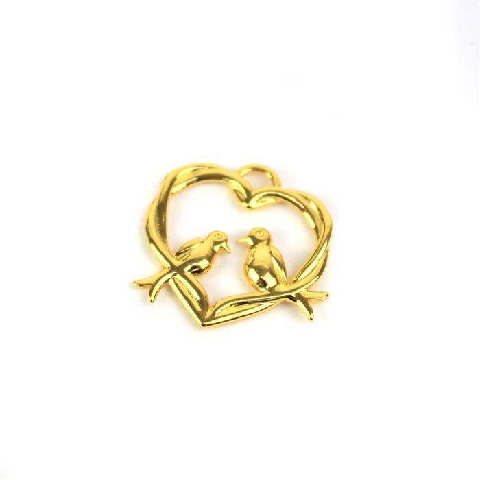 Gold Plated 925 Sterling Silver Entwined Love Birds Heart Pendant Approx 23x24mm