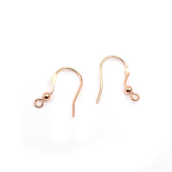 Rose Gold Plated 925 Sterling Silver Flat Ear Wire with Ball - 14mm (1pair)