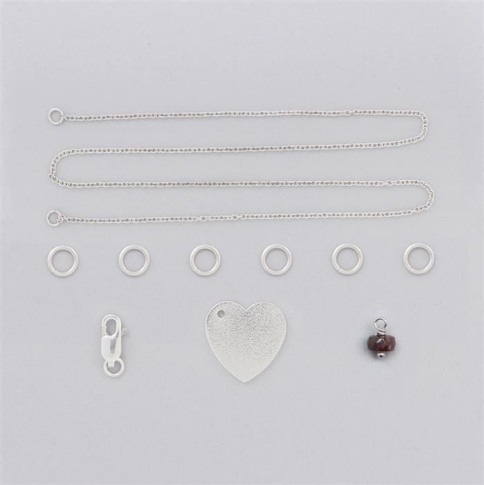 Birthstone Kit: 925 Sterling Silver Necklace Kit Inc. 2cts Brown Zircon Faceted Rondelles Approx 5x3mm (10 Pcs)