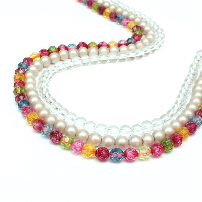 Round & Round; Twilight Matt Shell Pearls, 30cts Clear Quartz & 30cts Multi-Colour Quartz