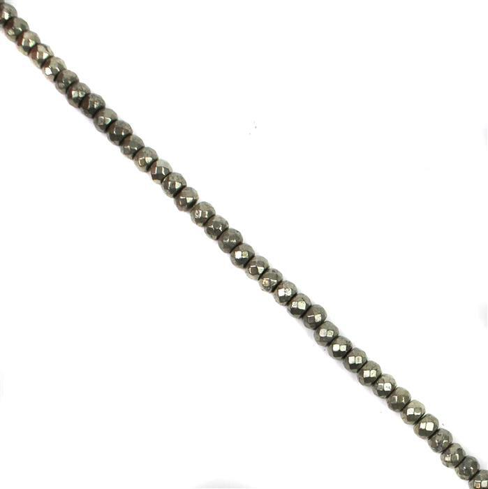 150cts Pyrite Faceted Rondelles Approx 6x4mm, Approx 38cm Strand