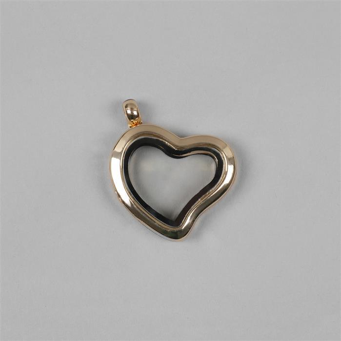 Gold Plated Metal Alloy Keepsake Lockets Heart Approx 30x25mm