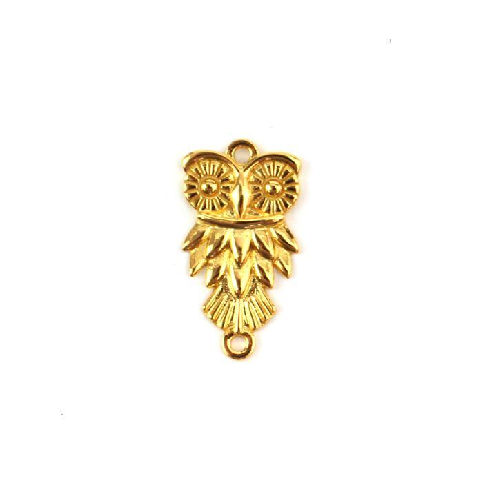Gold Plated 925 Sterling Silver Owl Connector Approx 12x23mm 1pc