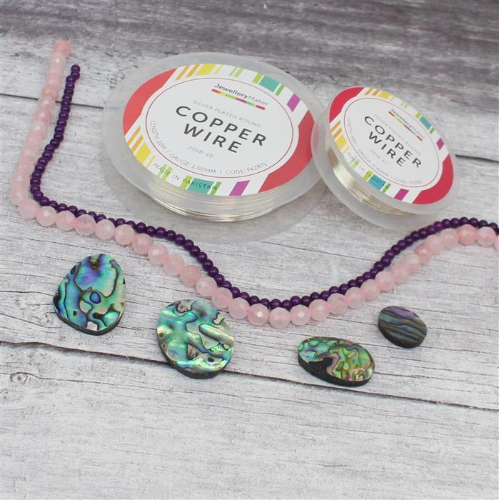 Under The Sea; Abalone Cabochons, 150cts Rose Quartz, 45cts Purple Quartzite & Wire