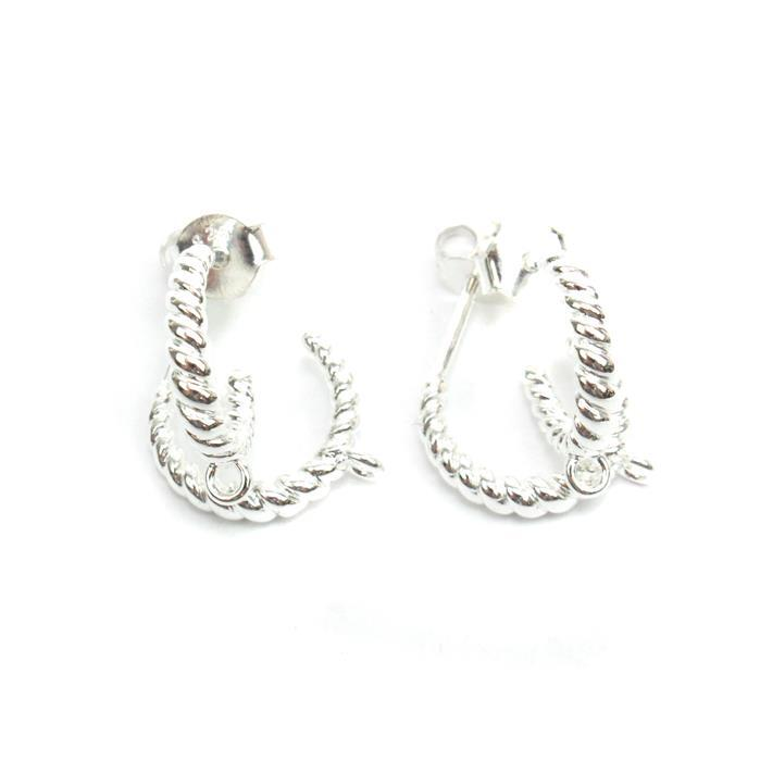 925 Sterling Silver Twist Hoop Earrings With Texture & Loop Approx 12mm (2Pairs)