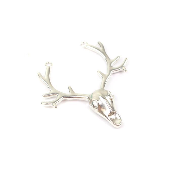 925 Sterling Silver Stag Head Connector, Approx 35mm, 1pc