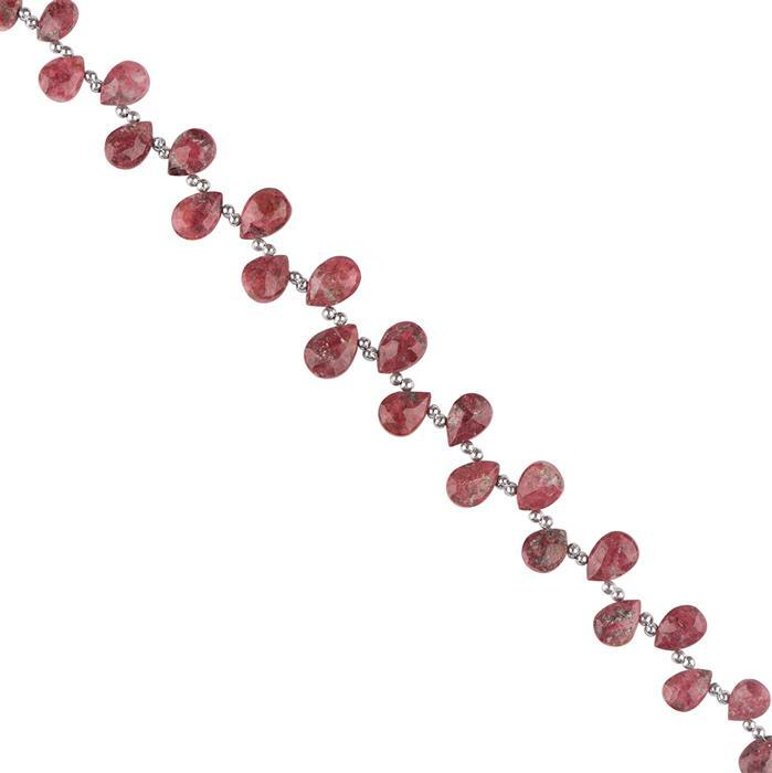 48cts Thulite Graduated Faceted Pears Approx 6x5 to 10x8mm, 18cm Strand.